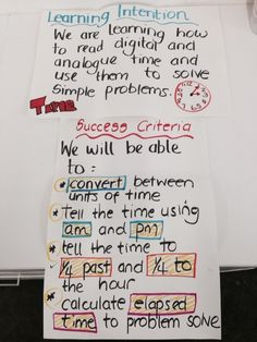 Analogue and Digital Time Learning Intentions and Success Criteria. By Kathryn Buttigieg Yr 3/4