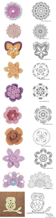 irish crochet flowers Flowers and graphs for making them - what a shame I can't read this style of patterns! Crochet Diy, Crochet Motifs, Crochet Flower Patterns, Crochet Diagram, Crochet Chart, Crochet Squares, Love Crochet, Irish Crochet, Crochet Designs