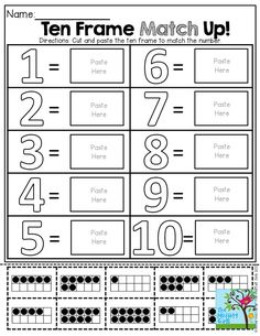 Ten Frame Match Up! Cut and paste the ten frame to match the number. TONS of Back to School resources!: