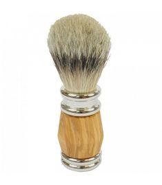 Golddachs Rasierpinsel mit Dachs-Silberspitzen Olivenholzgriff Gold, Ebay, Badger, Shaving, Lace, Watches, Silver, Schmuck, Yellow