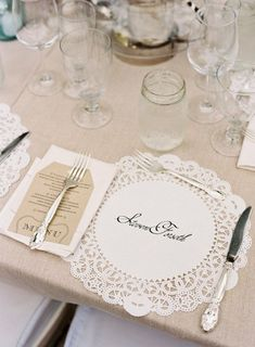 Perfect...doily place setting. Either names if we assign places or a short saying