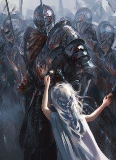 A arte de Wang Ling (wlop) High Fantasy, Dark Fantasy Art, Dark Art, Fantasy Armor, Medieval Fantasy, Fantasy Art Warrior, Anime Warrior, Fantasy Battle, Fantasy Character Design