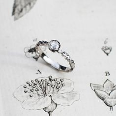 Image of platinum 3.9MM ROSE CUT DIAMOND RING {No.14026} smaller ring size