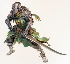 Art featuring medieval knights and their fantasy/sci-fi counterparts. Fantasy Armor, Anime Fantasy, Medieval Fantasy, Dark Fantasy, Fantasy Inspiration, Character Inspiration, Paladin, Character Concept, Character Art