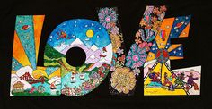 Peter Max inspired Love Sign 10 x 20