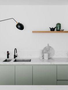 White Marble & Mint Green Kitchen