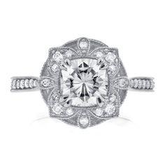 Moissanite & Diamond Engagement Ring 1 1/3 CTW in 14k White Gold