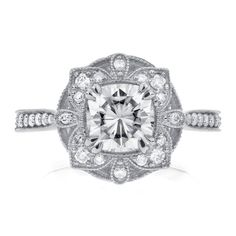 Moissanite & Diamond Engagement Ring 1 1/3 CTW in 14k White Gold