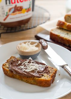 Coconut Banana Bread with Nutella