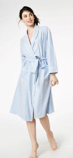 """Bedhead Women's """"Blue 3D"""" Stripe Flannel Knee Length Robe"""