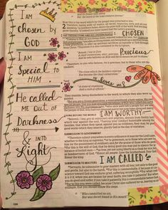 """""""1 Peter 2. I am chosen by God! I am precious, and I am his! #artfulworship #biblejournalingcommunity #onechristianchick #biblejournaling"""""""