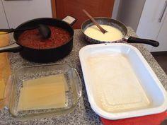 Todo dispuesto para armar la lasagna