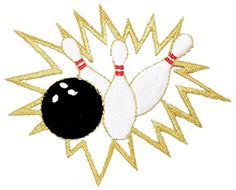 "[Single Count] Custom and Unique (4"" x 3"" Inch) Sports Bowling Pins Crashing Iron On Embroidered Applique Patch {Black, White, & Gold Color}"
