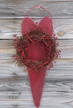 Red Barn Heart Wreath Valentine's Christmas Home Decor