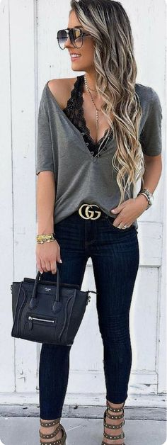 Catchy Fall Outfits To Try Now, Spring Outfits, black deep-neck sleeve shirt and blue jeans. Mode Outfits, Casual Outfits, Fashion Outfits, Womens Fashion, Fashion Trends, Fashion Ideas, Jeans Fashion, Fashion Clothes, Teen Outfits