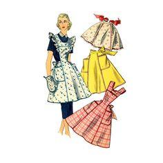 1950s Apron Pattern Simplicity 1358 Bust 34 to 36 Princess Seam Yoked Bib Kitchen or Half Apron Oven Mitt Womens Vintage Sewing Patterns