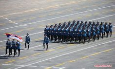 Officers and guardsmen of the Serbian Army Guard of Honor (Garda Vojske Srbije) marching through Tiananmen Square in Beijing at the 2015 Chinese V-J Day Parade.