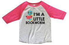 edaabe670 I'm A Little Bookworm BOYS OR GIRLS BASEBALL 3/4 SLEEVE RAGLAN - VERY SOFT  TRENDY SHIRT B843