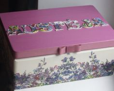 Decoupage box decorated wood jewelry by DumontsHandicrafts on Etsy