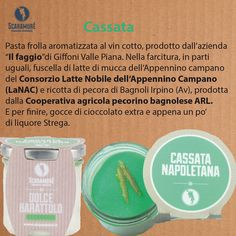 """Cassata Pasta frolla aromatizzata al vin cotto, prodotto dall'azienda """"Il faggio""""di Giffoni Valle Piana. Nella farcitura, in parti uguali, fuscella di latte di mucca dell'Appennino campano del Consorzio Latte Nobile dell'Appennino Campano (LaNAC) e ricotta di pecora di Bagnoli Irpino (Av), prodotta dalla Cooperativa agricola pecorino bagnolese ARL. E per finire, gocce di cioccolato extra e appena un po' di liquore Strega. Per info 081 19935072Mobile: 347 8543575 info@scaramure.it"""