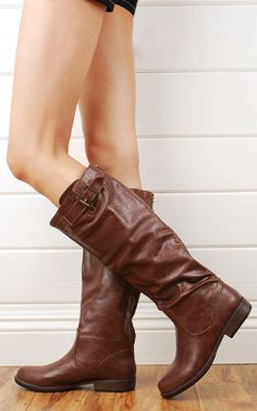 Bamboo Montage01n Brown Back Zipper Leatherette Riding Boots shop Boots at MakeMeChic.com