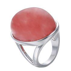 emanco, versilberte Legierung Rot Natur Halbedelstein Luxus Ringe für Frauen