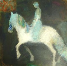 Pale Rider...judy thorley.......acrylic and collage