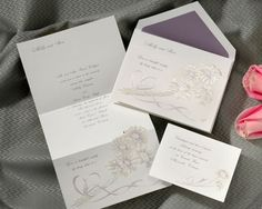 Floral wedding invitations feature a  tri-fold invitation is simply adorable with a bouquet of passion-colored daisies. Your names are featured at the top as well as a verse featured on the bottom