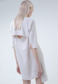 Contemporary Fashion - chic white dress; tailoring; pattern cutting // Uemulo Munenoli Spring 2014