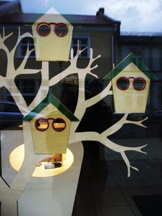 Birdhouse eyewear window display. Spring #merchandising.