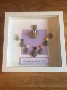 Pebble art picture Teacher With Children  | eBay
