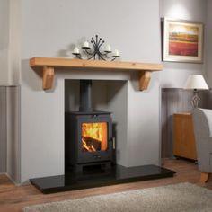 Oak Mantel, Mantel Shelf, Decor Home Living Room, Home And Living, Oak Fire Surround, Marble Hearth, Log Fires, Oak Shelves, Log Burner