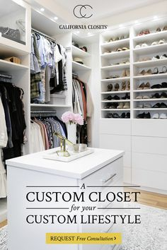 Customize your closet, simplify your life! California Closets provides custom closet organization solutions tailored to meet your exact needs. Schedule a consultation today and get first had advice from our expert organizers. Walk In Closet Design, Bedroom Closet Design, Master Bedroom Closet, Closet Designs, Home Decor Bedroom, Bedroom Closets, Bedrooms, Ikea Closet Hack, Closet Hacks