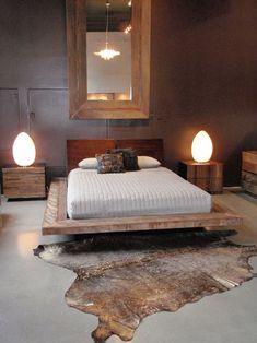 platform bed + bedside tables :: home decor, master bedroom furniture, nightstands