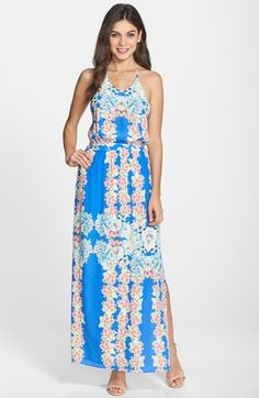 Free shipping and returns on Charlie Jade Floral Print Racerback Silk Maxi Dress at Nordstrom.com. Lush blooms pattern the summery silk of this lightweight maxi dress cut with a fun side slit. In back, the thin straps give way to a striking racerback design over alluring bare skin.
