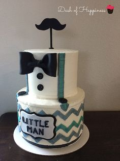 Dash of Happiness Cakes Little man theme with mustache bow tie