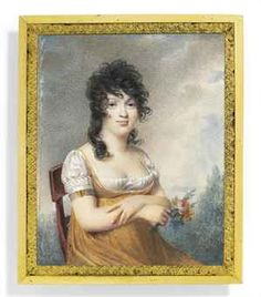 SCHOOL OF JEAN-BAPTISTE ISABEY, CIRCA 1805  A young lady, seated on a wooden chair, in ochre dress and white underdress, wearing a gold plaque engraved 'f' on a five-strand bracelet on her upper arm, her arms folded across her front, pink and yellow flowers in her right hand, dark hair blowing in a breeze; sky and foliate background on ivory rectangular, 3 x 2 7/16 in. (76 x 62 mm.), gilt-metal mount