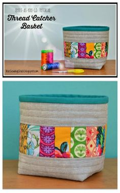 Love this scrap basket.  Designed as a thread catcher to sit next to your sewing machine, but I'm actually sewing it for my guest room to hold face cloths, small bottles and amenities too.  Great sewing tutorial.