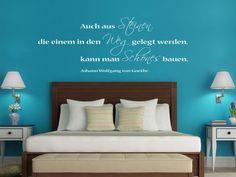 Wandtattoo Zitat Steine von Goethe im Schlafzimmer