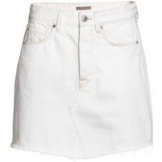 Denim Skirt $34.99 (1.000 UYU) ❤ liked on Polyvore featuring skirts, mini skirts, bottoms, faldas, saias, white denim mini skirt, denim mini skirt, white denim skirt, white short skirt and denim skirt