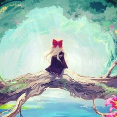 #anime kinda makes me think of a ghibli setting or maybe it's just the bow reminding me of kikis delivery service