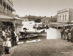 Boats on Brisbane Street, during flood, Ipswich, 1893 Brisbane Queensland, Brisbane City, Queensland Australia, Old Pictures, Old Photos, Ipswich Qld, Aussie Australia, As Time Goes By, Queenslander
