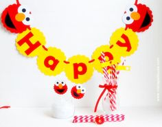 Elmo-Inspired Party set, banner, centerpiece, cupcake toppers and more