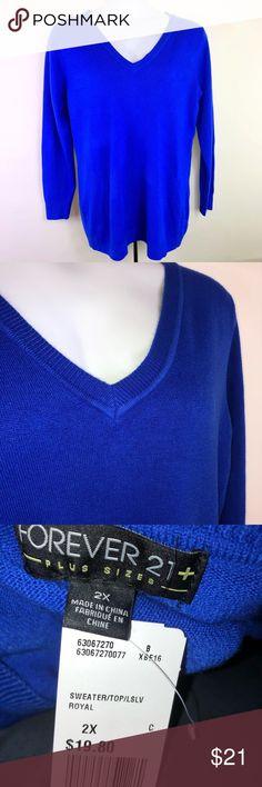 NWT Forever 21+ Blue Sweater Vibrant blue v neck sweater NWT by Forever 21+ Forever 21 Sweaters V-Necks
