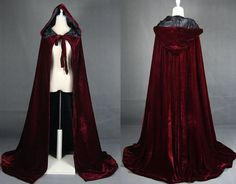 Velvet hooded cloak cape forest druid medieval cape by NothernFox