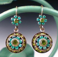 Teal+&+Olive+Green+Rhinestone+Earrings+Blue+by+milminedesign,+$29.00