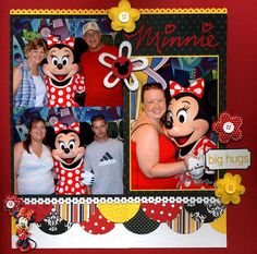 This Minnie Mouse layout is great - love the scalloped circles border using bold red, yellow, and black patterned papers!