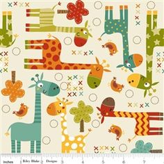 Giraffe Crossing Cream Flannel Yardage... this is toooooo cute flannel for the back of the quilt!!!