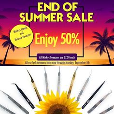 End of Summer Discount on Minkys Classic and Volume Tweezers. Enjoy 50% off all our lash tweezers from now through Monday September 5th. All #Minkys #Tweezers are $7.50 each! while supplies last at www.minkys.com #labordaylashsale #eyelashextensiontweezers #eyelashextensions #lashtools #eyelashextensionproducts