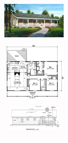 Ranch House Plan 20227 | Total Living Area: 1792 sq. ft., 3 bedrooms and 2 bathrooms.  Beautiful decorative beams and slope ceilings enhance the interior. The large, open-style living room hosts a great stone fireplace which shares its warmth with both the corner kitchen and dining areas. #ranchhome